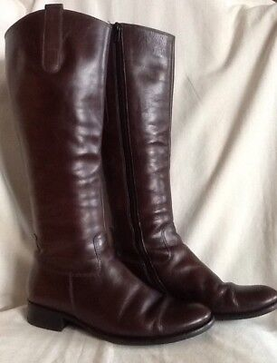 GABOR Brown leather riding style boots with side zip Size EU38/UK5