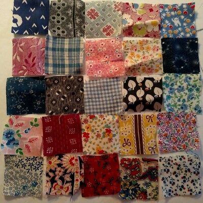 Vintage QUILT FABRIC PIECES c1920 Tiny SQUARES Hundreds Old Fabrics  LOT B