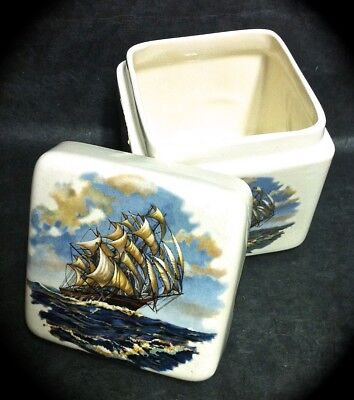 4 1/2 INCH TALL PORCELAIN TWINING TEA CADDY w/ CLIPPER SHIPS ON EACH SIDE & TOP