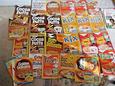 31 qty of 1970 - 1980's early  General Mills cereal box fronts vintage old !!