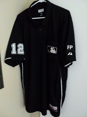 #12 GERRY DAVIS MLB UMPIRE GAME WORN BLACK 2XL JERSEY w/ HONOR/MEMORIAL FP PATCH