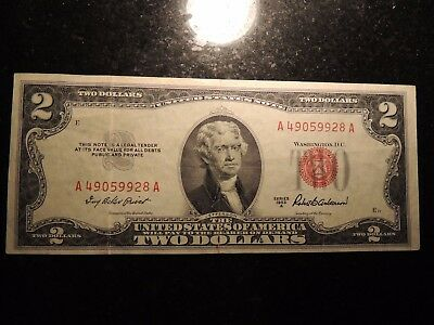 1953 A United States Note $2 Two Dollars Red Seal A 49059928 A