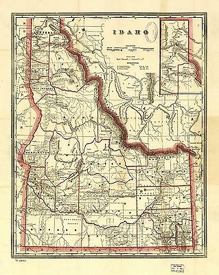 12x18 inch Reprint of American Railroad Map Idaho