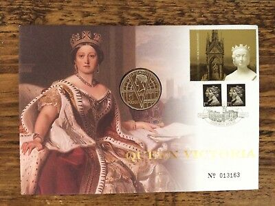 2001 coin cover; Queen Victoria; Royal Mint £5 Five Pounds; PNC; free UK pp