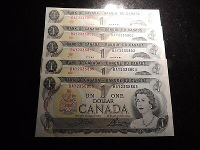 1973 BANK CANADA $1 ONE DOLLAR 5 CONSECUTIVES BAY 2335801-05 BC-46b CROW BOUEY