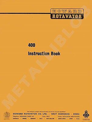 HOWARD 400 Rotavator Instruction Book - A4 (includes A3 Diagram)