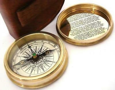 Brass Pocket Compass in Leather Case Robert Frost Poem - By Nauticalmart NEW
