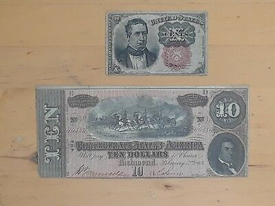 1864 $10 Confederate States of America Richmond , 1874 US 10 cents banknotes