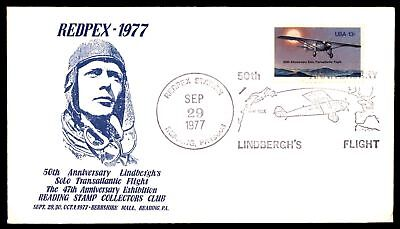 Mayfairstamps READING PA SEP 29 1977 LINDBERGHS FLIGHT REDPEX PICTORIAL COVER
