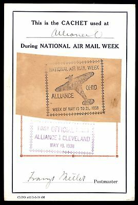 Mayfairstamps ALLIANCE OH NATIONAL AIR MAIL WEEK MAY 19 1938 CACHET ON CARD SIGN