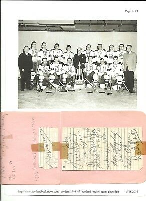 Autographs of Portland, Oregon's 1946 Hockey Team with Pictures and Information