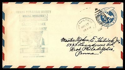 Mayfairstamps OMAHA NE BALLOON RACES MAY 27 1932 GREEN CACHET ON AIR MAIL COVER