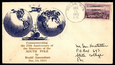 Mayfairstamps POLAR WI DEC 14 1936 DISCOVERY OF SOUTH POLE 25TH ANNIVERSARY CACH