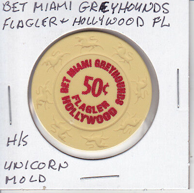 Casino Chip Token $.50 Fract. Bet Miami Greyhounds Flagler & Hollywood Fl Unicor