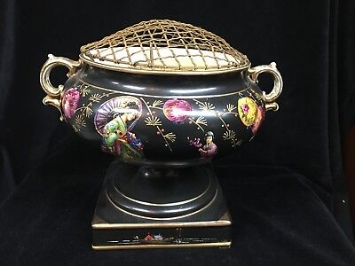 Black And Gold Hand Painted English  Jardiniere/vase With Asian Design And Frog