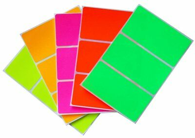 Neon Assorted Color Coding Rectangle Stickers 4x2 Inch Name Tags Labels 30 Pack