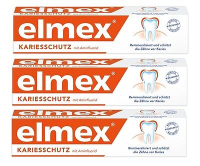 Elmex toothpaste. Caries protection. 3 x 75 ml. Real elmex product NOT FAKE !!!