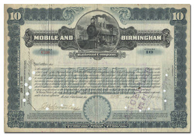 Mobile and Birmingham Railroad Company Stock Certificate
