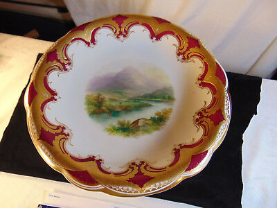 Gorgeous Hand Painted Maroon & Gold compote With Dolphin legs