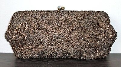 Glomesh Ladies Bronze Beaded Soft Evening Clutch Bag, Pre-Owned