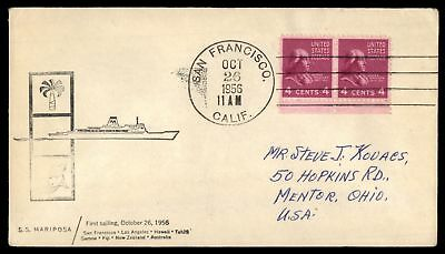 Mayfairstamps SAN FRANCISCO CA SS MARIPOSA FIRST SAILING OCT 26 1956 CACHHET ON