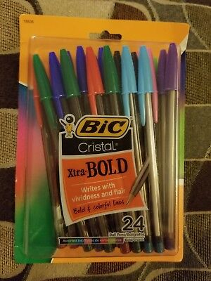 Bic Cristal Xtra Bold Point 1.6 mm Pens, Assorted Inks, 24-Pack