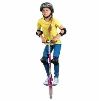 Pogo Stick Outdoor Summer Activity Toy Spring Bounce, Pink w/ Daisy Flower