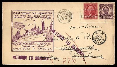Mayfairstamps FIRST VOYAGE SS MANHATTAN AUG 10 1932 CACHET ON COVER WITH RETURN