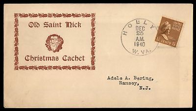 Mayfairstamps HOLLY WV DEC 25 1940 OLD ST NICK CHRISTMAS CACHET ON COVER WITH PR