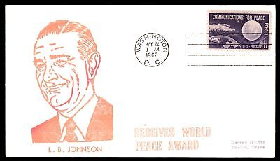 Mayfairstamps LYNDON B JOHNSON RECEIVES WORLD PEACE AWARD PINK CACHET ON COVER