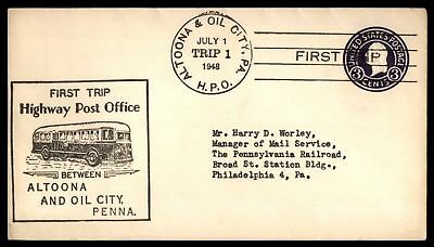 Mayfairstamps ALTOONA & OIL CITY PA JUL 1 1948 TRIP 1 CACHET ON COVER