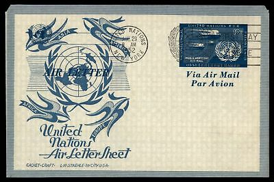 Mayfairstamps UNITED NATIONS NY AIR LETTER SHEET LW STAEHLE CACHET ON UNADDRESSE