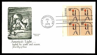 Mayfairstamps AMERICAS LIGHT PLATE BLOCK 39086 ARTMASTER CACHET ON UNSEALED UNAD