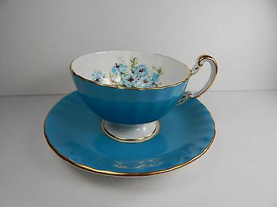 Aynsley Blue Scalloped Tea Cup and Saucer. Blue Floral Pattern.