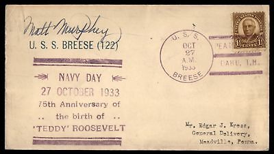 Mayfairstamps USS BREESE 122 OCT 27 1933 NAVY DAY ROOSEVELT 75TH BIRTH ANNIVERSA