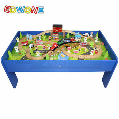 100pc Wooden Track Train Railway and Table Play Set