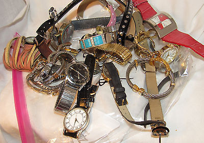 lot of 21 Fashion Watches NEED BATTERIES fossil Timex cavelle parts or wear