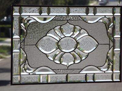 "• PURITY • Clear Beveled Stained Glass Window Panel • 28 ½""x17 ½"" (72x44.5cm)"
