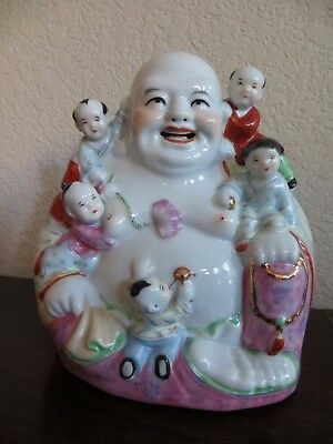 Old Chinese Export Famille Rose Porcelain Happy Buddha Statue with Kids marked