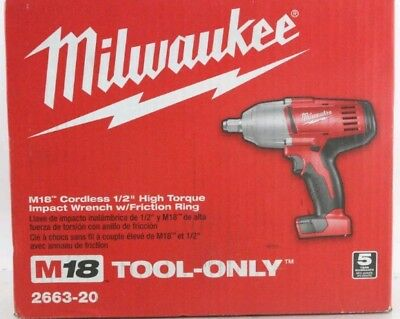 "Brand New Milwaukee Model 2663-20 M18 Cordless 1/2"" High Torque Impact Wrench"