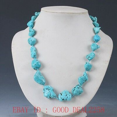100% Natural Turquoise Handwork Carved Decoration Necklaces XL022