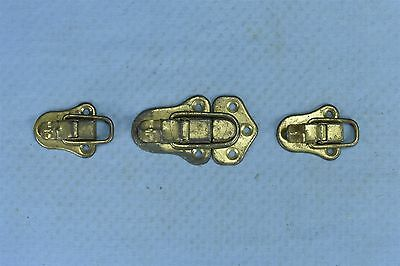 Antique MIXED LOT of 4 BRASS PLATED DRAWBOLT TRUNK SALVAGED HARDWARE PART #03540