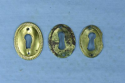 Antique LOT of 3 PRESSED BRASS OVAL KEY HOLE COVERS ESCUTCHEON HARDWARE #03783