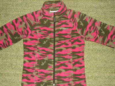 COLUMBIA Cozy & Warm Pink Camouflage Fleece Jacket Girls 6-6x Camo