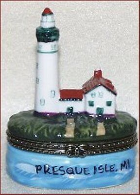 PRESQUE ISLE, MI-Porcelain Hinged-Box-from THE LIGHTHOUSE SERIES