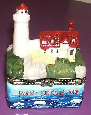 POINT BETSIE, MI LIGHTHOUSE-Porcelain Hinged-Box-from THE LIGHTHOUSE SERIES