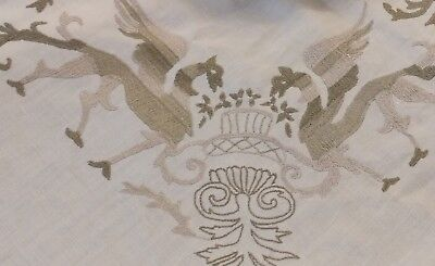 "Antique figural Italian hand embroidery linen tablecloth 106""× 66"""