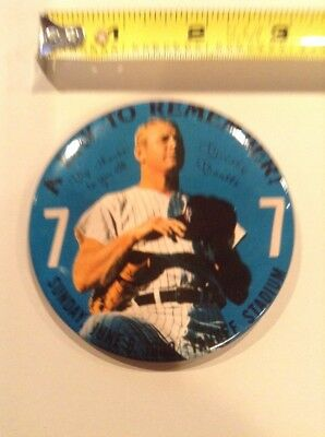 """3"""" Mickey Mantle A Day to Remember pin back button NY Yankees 7 Stadium pinback"""