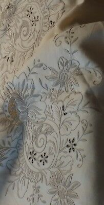"Vintage elaborate embroidery Madeira linen tablecloth 98""×62"""