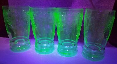 4 super rare green depression Georgian lovebirds 5 1/4 in Tumblers glasses